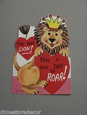 Vtg Valentine Card I'm Not Lion Our Day to Roar 60's 70's UNUSED