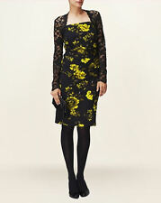 Phase Eight Enid Black Lace Yellow Rose Print Bodycon Pencil Dress Size 12