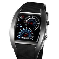 Blue&White LED Watch Black Rubber Speedometer Dot Matrix Boys Mens Gift L8891