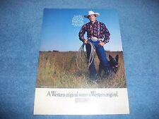 1991 Wrangler Western Wear Vintage Ad with George Strait and hisDog Buster