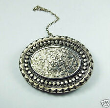 Antique vintage Victorian silver mourning locket brooch pin hair 1876 floral