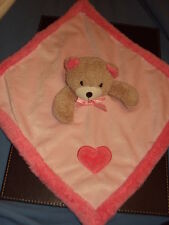 Blankets & beyond bear pink comfort blanket, heart detail. Baby girl