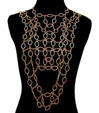Gold DRAPE VEST V LINK CHAIN BODY CHAIN Statement Metal Celebrity Inspired