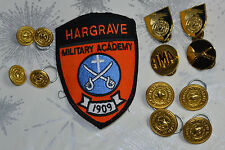HARGRAVE MILITARY ACADEMY BUTTONS, SHOULDER PATCH, PINS! WATERBURY BUTTON CO!