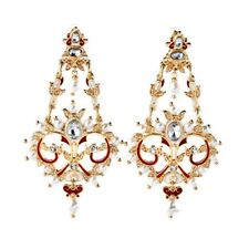 UNSIGNED Earrings PERCOSSI PAPI CLIP ON Big Red Chandelier Pearl Light X12