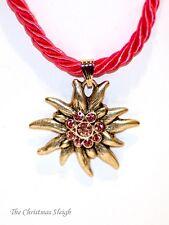 German Bavarian Women's Oktoberfest Jewelry - Pink Swarovski Edelweiss Necklace