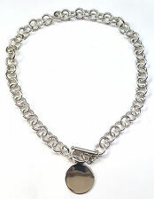 """Link Chain w/Toggle Lock &  1""""Round Solid Plate Necklace,11mm wide 16"""" Long"""