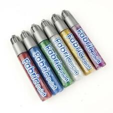PACK OF 6 FABRIC GLITTER PAINT PENS+ FREE PACK OF 3 GLITTER GLUE-6834+84155