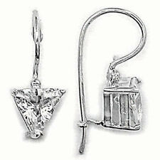 Stunning Triangle Trillion Cut CZ French Wire Earrings Silver 925 Jewelry Gift