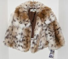 NWT JOLT STRUCK BY STYLE WHITE & BROWN CHEETAH PRINT SHORT FAUX FUR COAT Size L