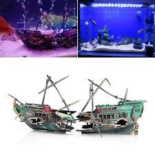 Sunk Wreck Boat Aquarium Ornament Ship Sailing Boat Destroyer Fish Tank Decor
