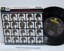 "THE BEATLES A HARD DAY'S NIGHT EP 7"" VINYL 45 PARLOPHONE UK MONO EX RARE"