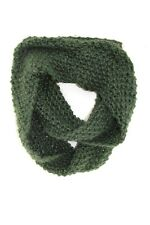 ELEGANT PINE GREEN THICK KNIT WARM MINIMALISTIC DESIGN INFINITY SCARF(MS34)