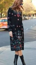 NWT Zara Midi LONG EMBROIDERED DRESS  Black AW15 REF. 4786/247 S Small