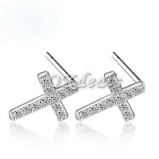 Fashion 925 sterling silver Plated filled jewelry Cross Earrings Crystal gifts