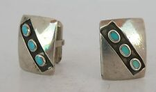 Navajo Native American, sterling silver & 3 Turquoise stones southwest cufflinks