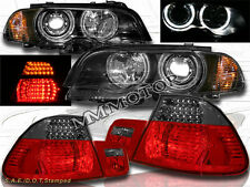 00-03 BMW E46 2DR HALO PROJECTOR HEADLIGHTS +CORNER+RED SMOKE LED TAIL LIGHTS