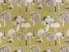 VOYAGE TOADSTOOLS MEADOW FABRIC COTTON LINEN CURTAIN GREEN MUSHROOMS FUNGI