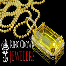 Citrine Canary Solitaire Radiant Cut Rick Ross Pendant +Chain Yellow Gold Finish
