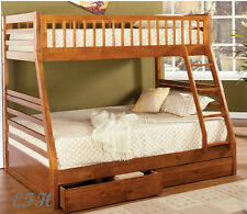 NEW CAMDEN RUSTIC OAK FINISH WOOD TWIN OVER FULL BUNK BED w/ 2 STORAGE DRAWERS