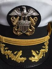 Navy Military US NAVAL OFFICER Dress HAT SIZE  7 1/4  Cap Co White... Bancraft