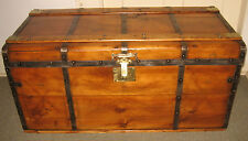 ANTIQUE STEAMER TRUNK VINTAGE VICTORIAN FLAT TOP WOODEN STAGECOACH CHEST C1890