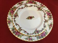 Royal Albert DOulton Old Country Roses ruby ribbon celebration salad plate UK
