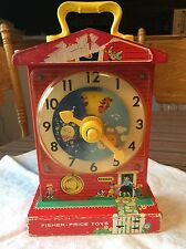 Antique Vintage FISHER PRICE MUSIC BOX TEACHING CLOCK WOOD TOY MUSIC BOX SCHOOL