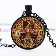 Gold Phoenix Photo Cabochon Glass Black Chain Pendant Necklace