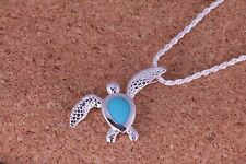silver honu turtle with blue turquoise inlaid pendant (chain included) gift idea