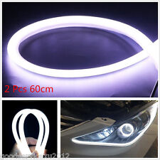 2 Pcs 12V 60cm White LED Soft Tube Vehicle Daytime Running Lights DRL Waterproof