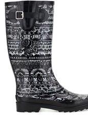 Women's Sak Roots Faux Fur Lined Rainboots Black Tonal Size 6