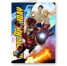 Photo personnalisé ajouté, Avengers, Iron Man A5 carte d'anniversaire avec enveloppe