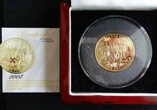 2008 SILVER PROOF GOLD PLATED RUBIES & SAPPHIRE TDC £5 PIEDFORT COIN BOX COA
