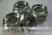 fits BBS RS - (4) NEW classic metal center hex nuts polished 58 mm thread