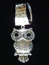WOMENS SILVER HAMMERED SCARF RING/HOLDER, SILVER OWL PENDANT W/BLACK RHINESTONES