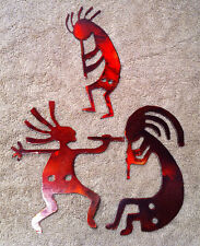 Lot of 3 Kokopelli 4 inch Red Metal Wall Art Ornament Craft Stencil Wind Chime