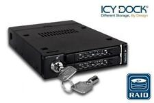 "New ICY Dock MB992SKR-B 2 bay Dual 2.5"" RAID SATA HDD Hard Drive Mobile Rack"