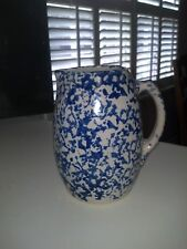 Clay City Pottery- Blue&White Sponge  Country Milk Pitcher-New/Unused