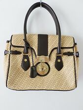 "BROOKS BROTHERS tan woven brown leather lock satchel bag 11"" NEW"
