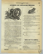 1930 PAPER AD Corbin Segal Brand Automatic Key Duplicating Machine Cutting Cutte