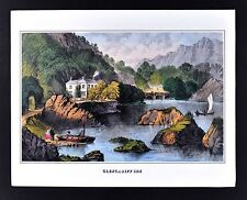 Currier & Ives Print - Glencariff Inn - Bantry Bay near Cork Ireland - Vintage