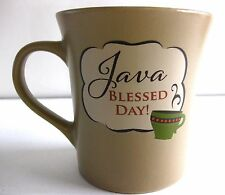 "EUC BROWN STONEWARE MUG ""JAVA BLESSED DAY"" COFFE CAKE IN A MUG RECIPE 10 OZ."