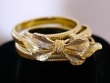 """Vintage 1974 Mimi Di N Gold Tone Floral Bow Stretchy Skinny Disco Style Belt 24"""""""