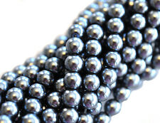 70 Glossy Gray Glass Pearl Round Beads 6MM LIMITED