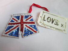 Sequin Union Jack Flag Mens Boxer Boxing Shorts Christmas Tree Decoration #8F11
