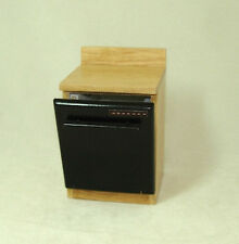 Non-Working Black Dollhouse Dishwasher Oak Cabinet 1:12 Miniature for Doll House