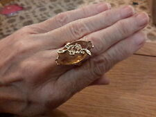 BRAND  NEW GOLD TONE  RING WITH A HUGE  CITRINE  LOOK STONES  SIZE O+1/2 + BOX