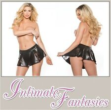 Black Lace and Wet Look Flared Mini Skirt Sexy Dominatrix Outfit Size 8 10 12