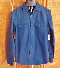 Old Navy Long Sleeve Blue Denim Shirt Mens Button Down Chest Pockets NWT SAN F
